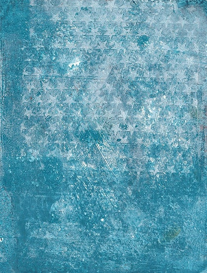 gelatin monoprint using stamps and stencils