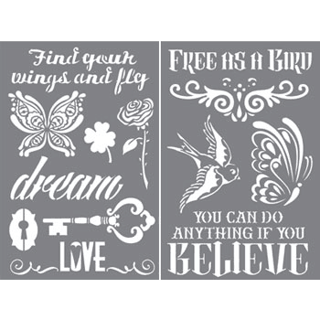 create an inspirational art journal background with tatoo inspired stencils