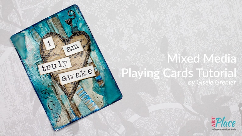 Easy Art Card / Mixed Media Playing Card with Blue Sea Glass and Corrugated Cardboard