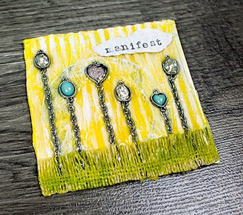 mixed media collage art with jewelry