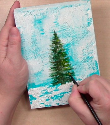 how to paint a tree in a winter scene