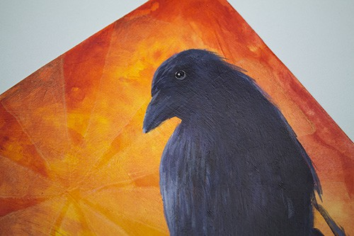 How to paint a blackbird in acrylics - side view