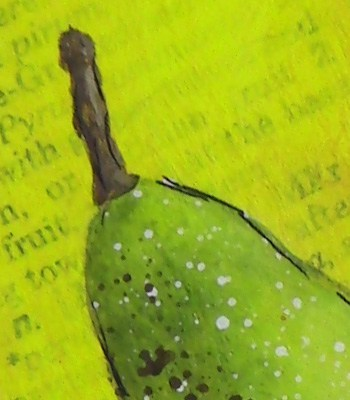 painting a pear in acrylics