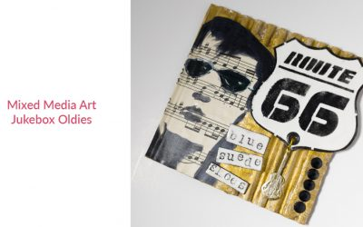 Jukebox Oldies 4×4 Mixed Media Art
