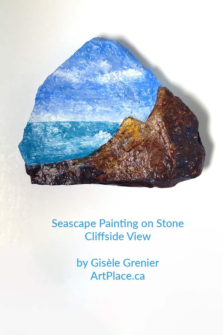 Why always paint on a boring canvas, why not paint a seascape on stone from the Niagara Escarpment