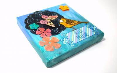 Crazy Bird Meets Butterfly – Mixed Media Canvas Project