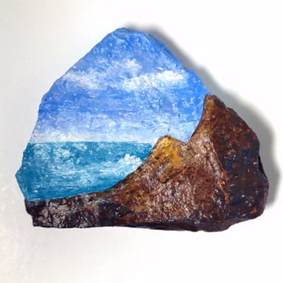 Seascape Painting on Stone
