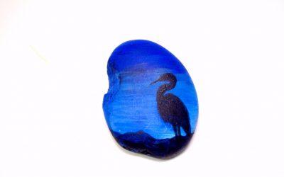 Painting on Rocks – Heron Silhouette