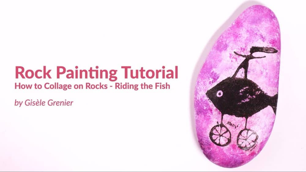 Rock Painting Tutorial – Collaging Stamped Tissue on a Rock