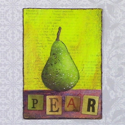 Painting a Pear in Acrylics as Miniature Art with a Touch of Mixed Media