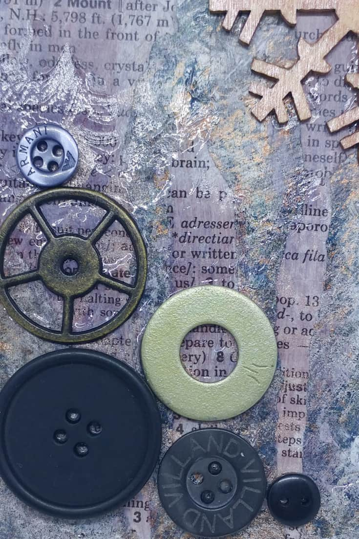 In this lesson, check out how I mixed up various textures such as metals, buttons, plastic and wood in mixed media art, based on a Book of Backgrounds page.