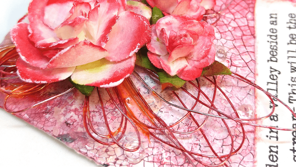 Creating Elegant Mixed Media Art with Paper Flowers and Alcohol Ink Dyed Wire