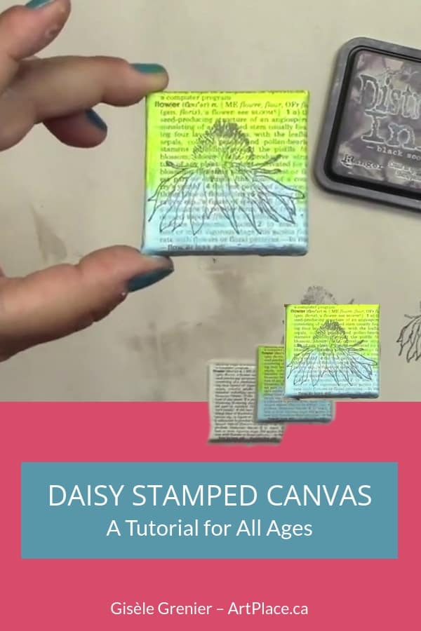This is a perfect little project if you're learning some mixed media or for a collaboration project. All you need is some paint, some little canvases or thick cut watercolour paper, dictionary paper and a random stamp.