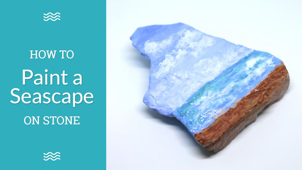 Seascape Painting in Acrylics on Escarpment Stone for beginners
