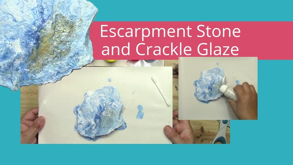 Acrylic Pouring Experiment #6 – Paint Pouring on Escarpment Stone with One Step Crackle