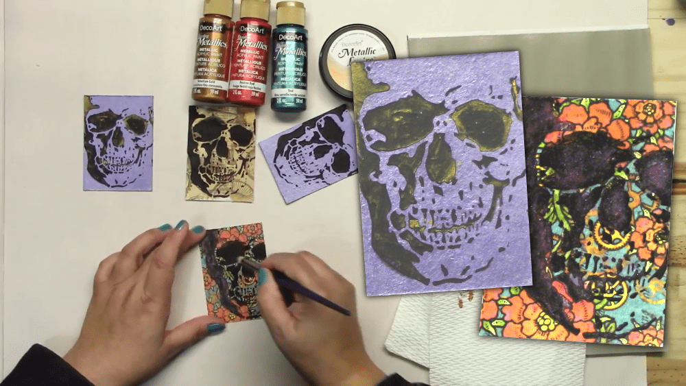 Making Day of the Dead Artist Trading Cards with Texture and Metallics