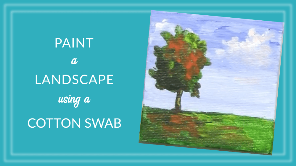 Magnet Landscape Canvas Painting Using a Cotton Swab