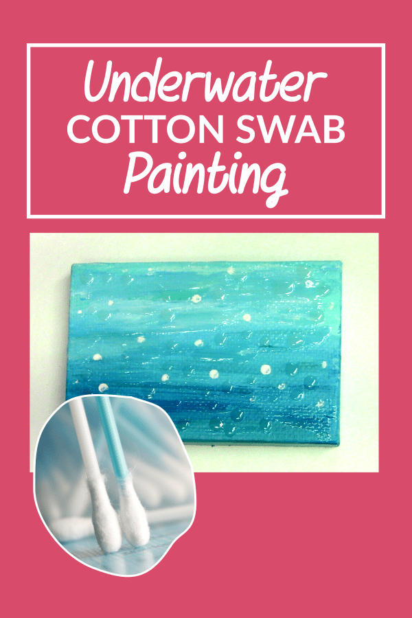 In this art experiment, I'll be using a cotton swap to create a tiny painting of an underwater scene.  I did mess up the order of the bubbles, and I love it regardless.  A challenge would be to use other types of tools to create paintings such as pencils, popsicle sticks and toothpicks :)